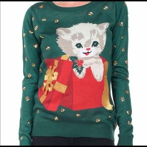 Kitten Christmas Sweater.Nwt Modcloth Kitten Present Christmas Sweater L Nwt